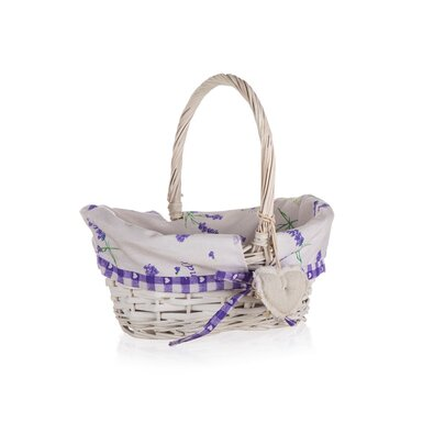 Home Decor Lavender fogantyús fonott kosár, 26 x 17 x 12 cm