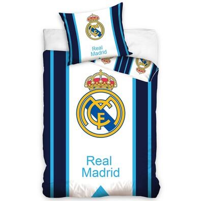 Bavlněné povlečení Real Madrid Blue Stripes, 160 x 200 cm, 70 x 80 cm