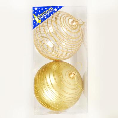 Koule se třpytkami 2 ks, zlatá, pr. 10 cm, zlatá