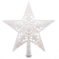 Vánoční hvězda na stromek Shiny bílá, 20 x 20  x 3 cm