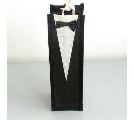 Jutová taška na 1 lahev - frak, bílá + černá, 35,5 x 11 x 11 cm