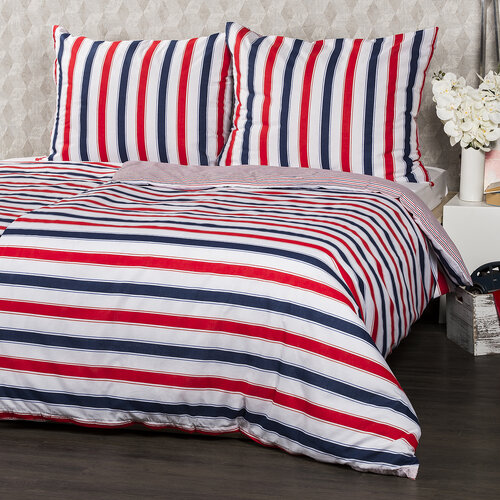 4home 2 sady obliečok Navy Red, 140 x 200 cm, 70 x 90 cm