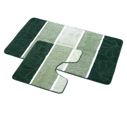 Sada koupelnových předložek, mušle tmavě zelené, 60 x 100, 60 x 50 cm