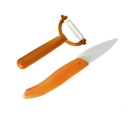 Sada keramický nůž + škrabka oranžová