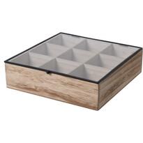 Filteres tea tárolódoboz,  24,5 x 24 x 6,5 cm