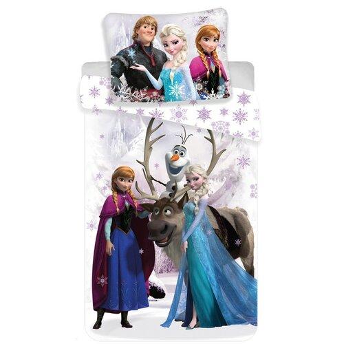 Jerry Fabrics Dětské povlečení Ledové Království Frozen white snow micro, 140 x 200 cm, 70 x 90 cm