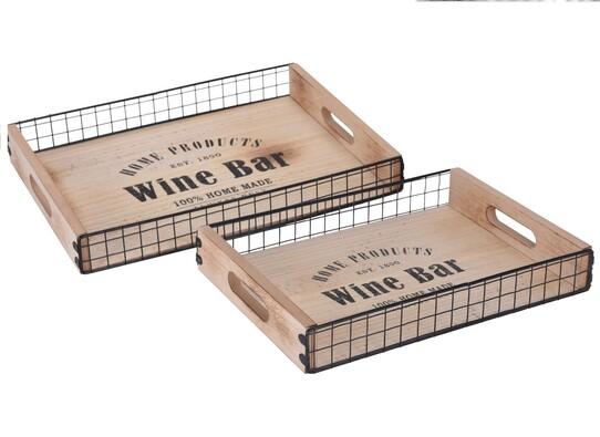 Sada dřevěných podnosů, 2 ks
