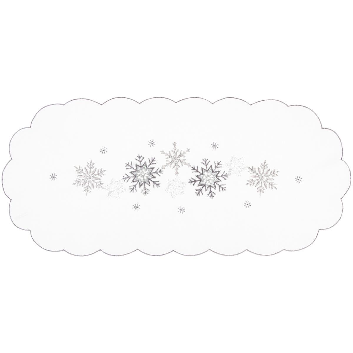 Vánoční ubrus Vločky stříbrná, 40 x 90 cm
