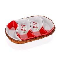 Platou servire BANQUET Red Poppy 4 compartimente în coș