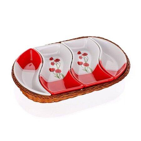 BANQUET Red Poppy servírovací misky v košíku 4 díly 601559RP