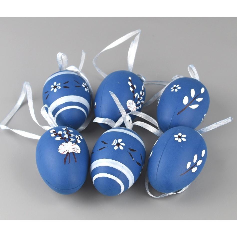 Sada ručně malovaných vajíček s mašlí modrá, 6 ks