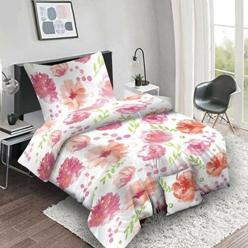 Lenjerie de pat din bumbac Flores pink, 140 x 200 cm, 70 x 90 cm, 40 x 40 cm