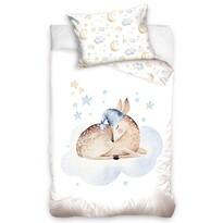 Lenjerie de pat din bumbac, pentru copii,Căprioară dormind, 100 x 135 cm, 40 x 60 cm