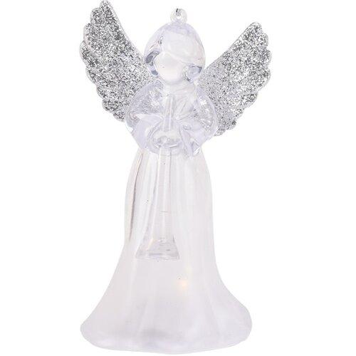 Závesná LED dekorácia Anjel s trúbkou strieborná, 11,5 cm