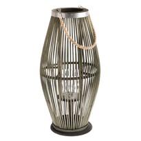 Delgada bambusz lámpás üveggel, zöld, 59 x 29 cm