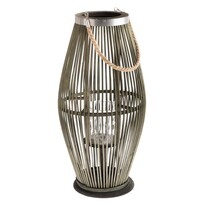 Latarnia bambusowa ze szkłem Delgada zielony, 59 x 29 cm