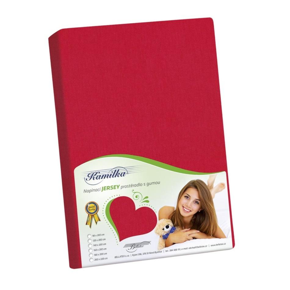 Bellatex Jersey prostěradlo Kamilka červená, 200 x 220 cm