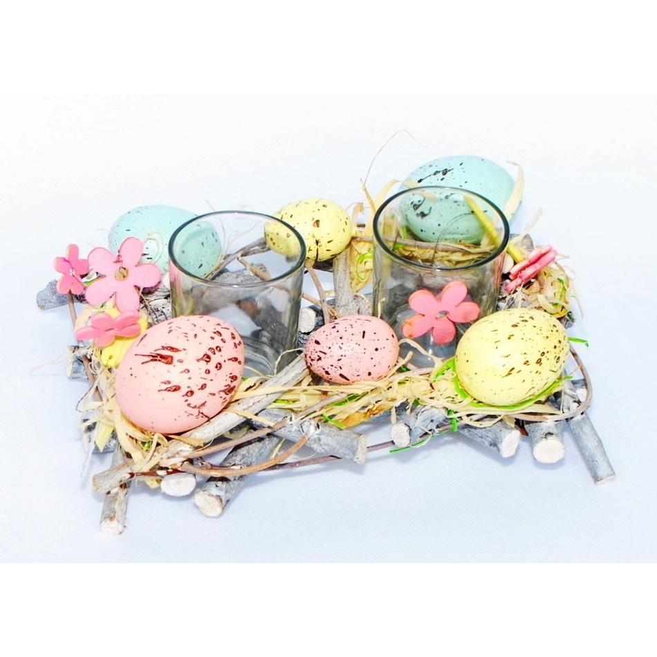 Velikonoční svícen Coloured Eggs, 20 cm