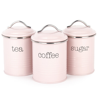 Koopman Sada dóz na kávu, čaj a cukor, ružová