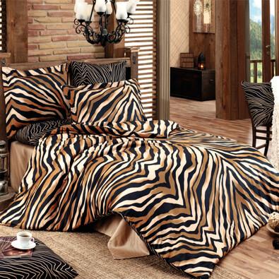 Bavlněné povlečení Bengal hnědá, 140 x 200 cm, 70 x 90 cm
