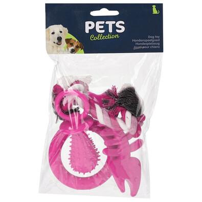 Kutyajáték készlet rózsaszín, 4 db