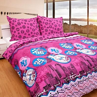 Bavlnené obliečky Time fuchsiové, 140 x 200 cm, 70 x 90 cm