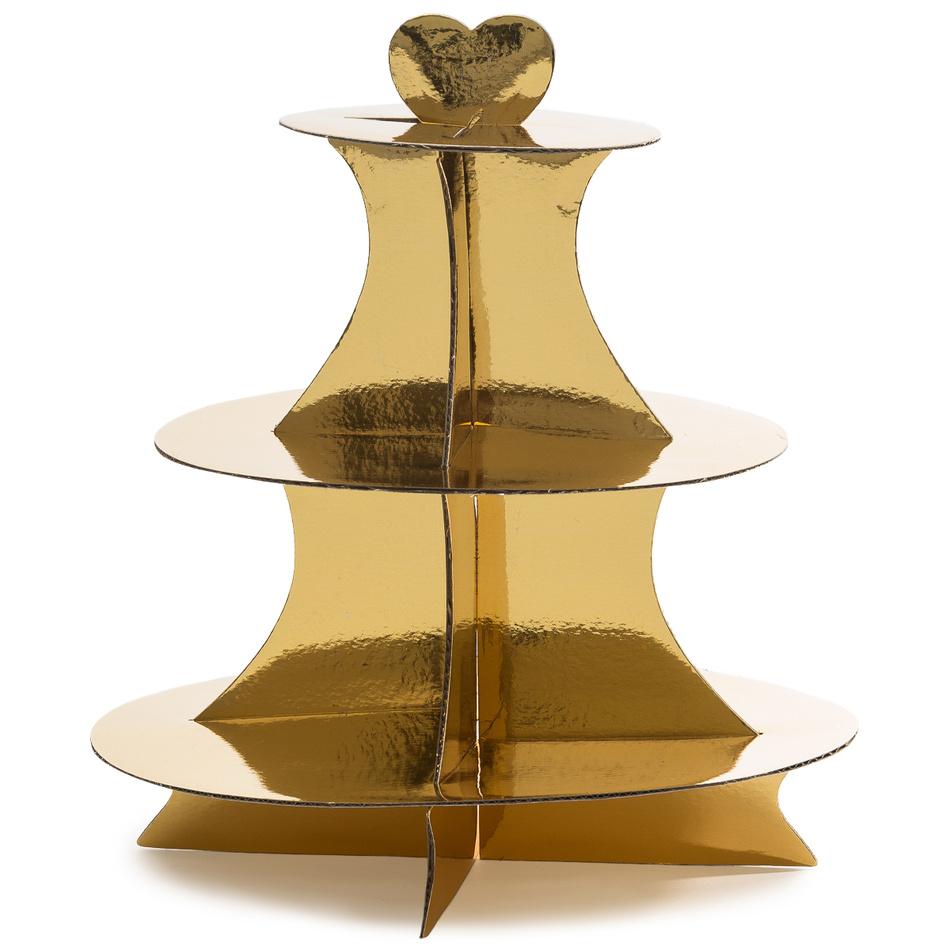 3patrový servírovací stojan, zlatá, v. 34 cm