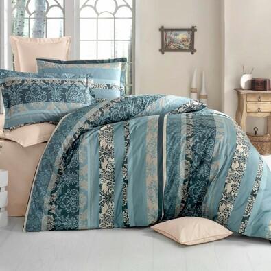 Lenjerie de pat, din bumbac, Delux Jeny, verde, 140 x 220 cm, 70 x 90 cm