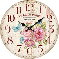 Drewniany zegar ścienny Ville de Paris, 34 cm