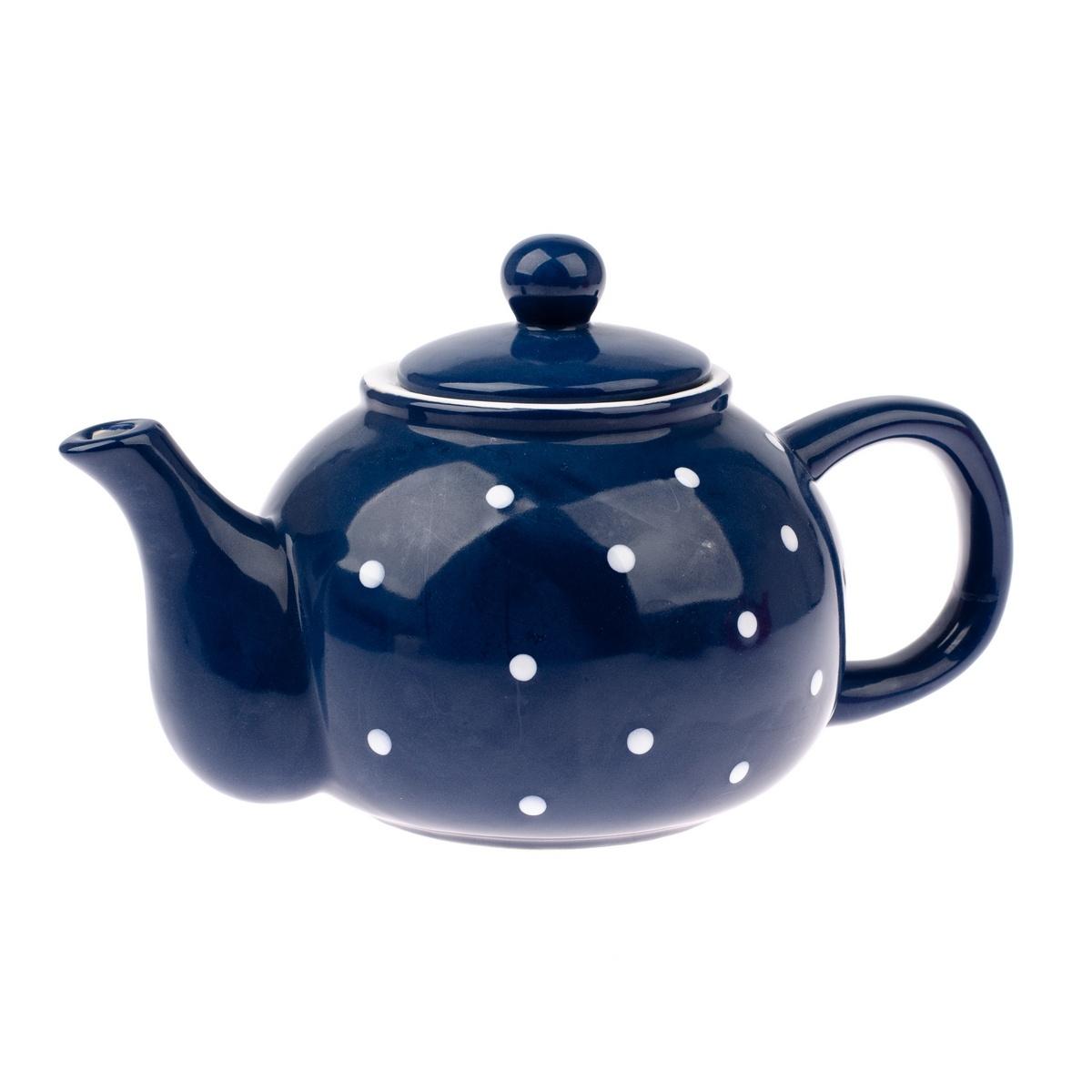 Keramická kanvička na čaj Dots 1 l, modrá