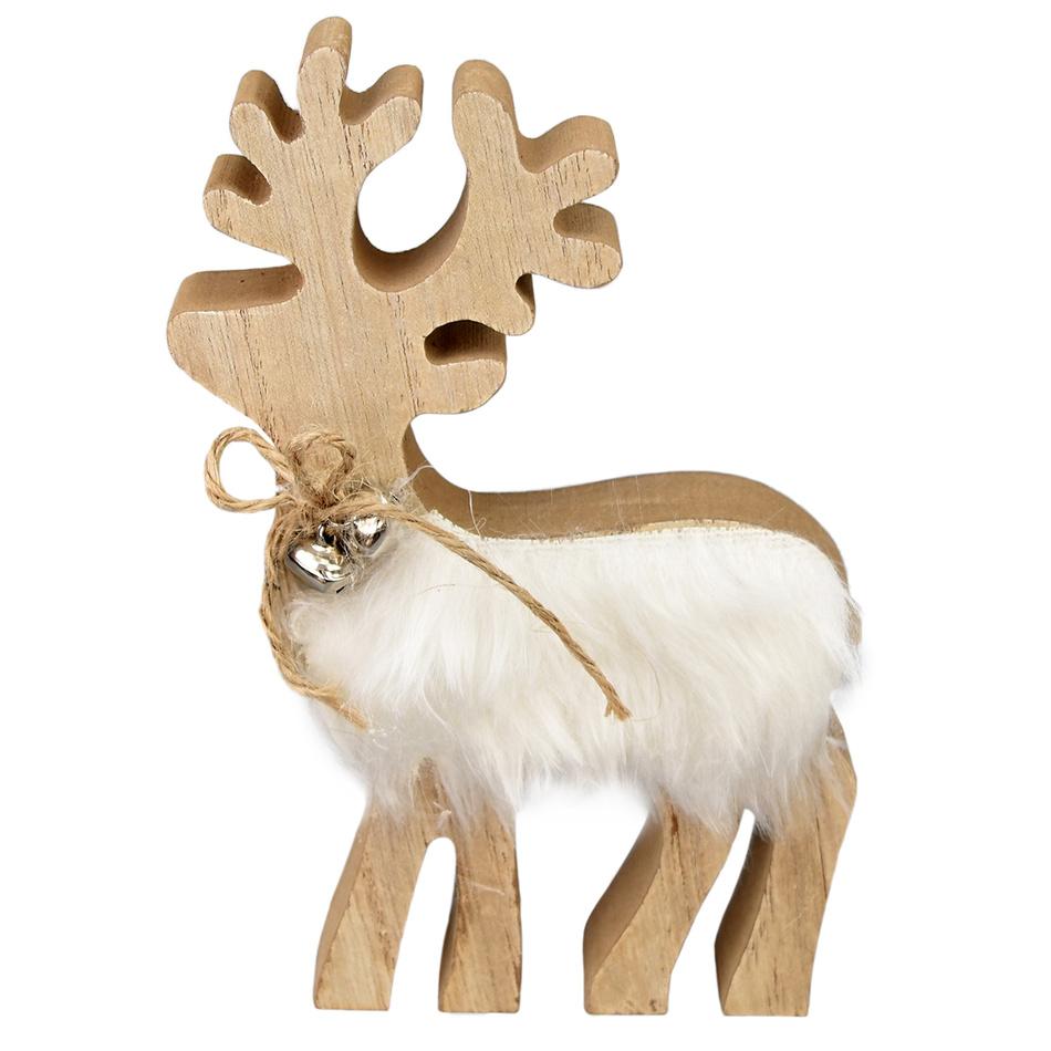 Vánoční dřevěný Jelen Bonifác, 17 cm