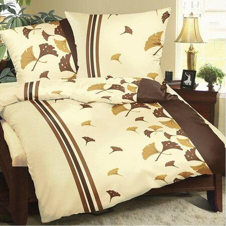 Legyezők pamut ágyneműhuzat barna, 220 x 200 cm, 2x 50 x 70 cm