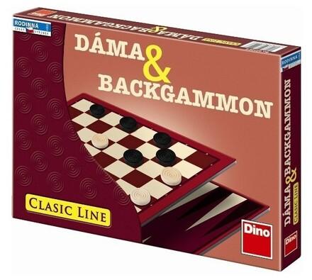 Hra Dáma a Backgammon Dino Toys, bílá + hnědá