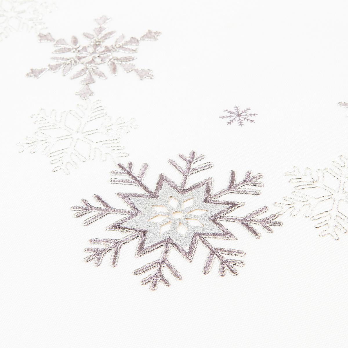 Vánoční ubrus Vločky stříbrná, 35 x 160 cm