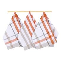 Ścierka kuchenna krata pomarańczowy 50 x 70 cm, zestaw 3 szt.