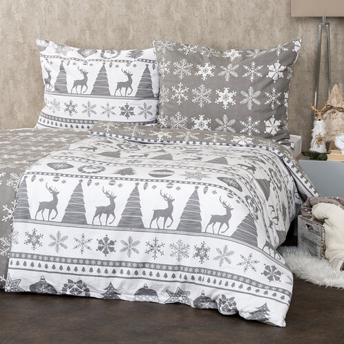 4Home Flanelové obliečky Christmas Time sivá, 140 x 220 cm, 70 x 90 cm