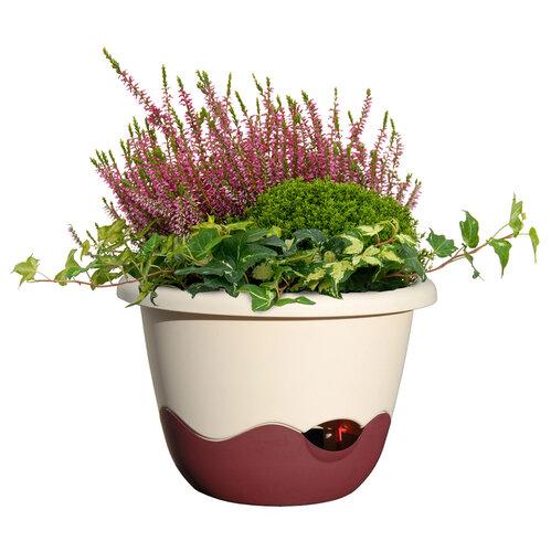 Plastia Samozavlažovací květináč Mareta béžová + vínová, pr. 30 cm