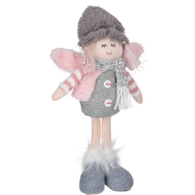 Vianočná dekorácia Anjel s čiapkou sivá, 34 cm