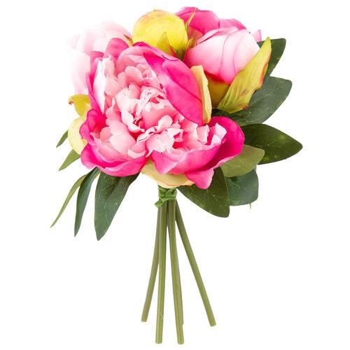 Umělá květina svazek Pivoňky tmavě růžová, 24 cm
