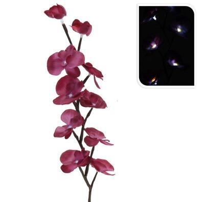 Umělá orchidej LED tmavě růžová