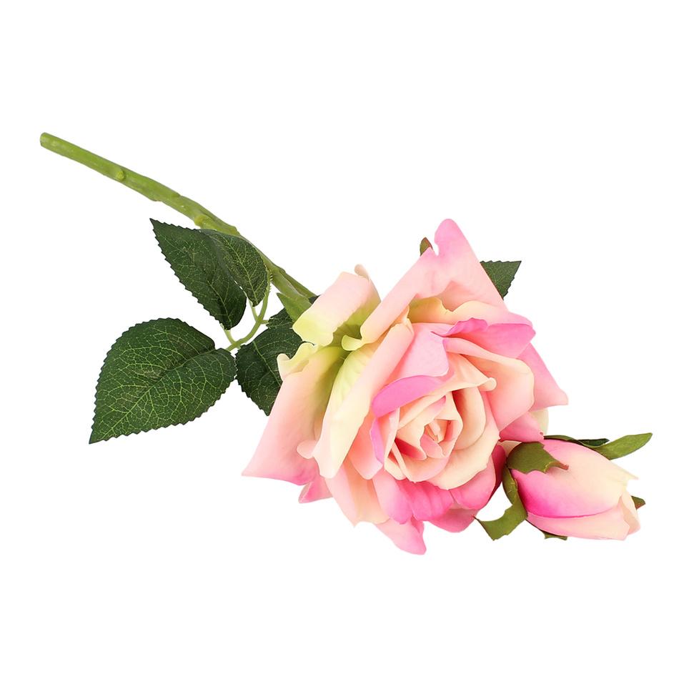 Umělá rozkvetlá Růže s poupětem