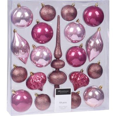Set decorațiuni Crăciun Clotte, roz, 19 buc.