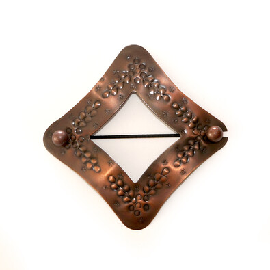 Dekorační sponka Kosočtverec bronzová, 10 x 10 cm