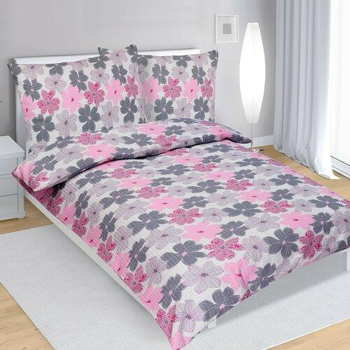 Krepové obliečky Kvety ružová, 140 x 220 cm, 70 x 90 cm