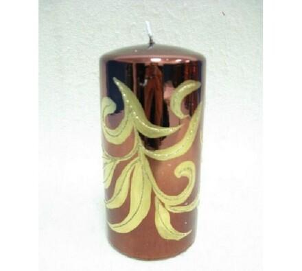 Vánoční svíčka hnědo-zlatá, 7,5 x 14 cm, hnědá, 7,5 x 14 cm