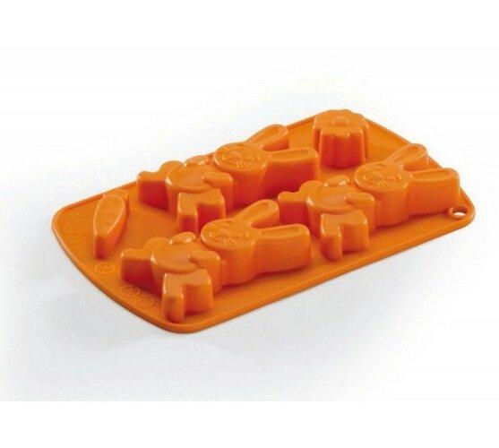Silikonová forma - zajíc, oranžová