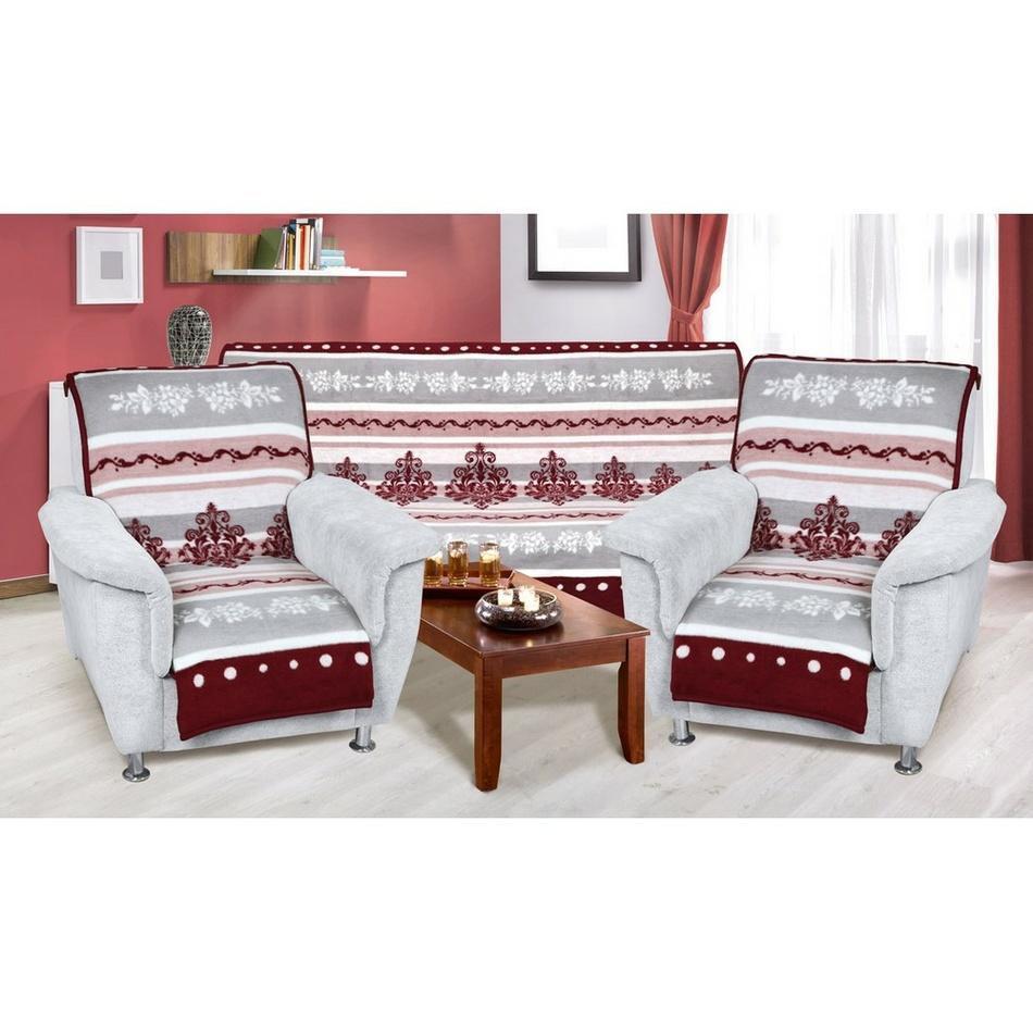 Bellatex Prehozy na sedaciu súpravu Ornament bordó-sivá, 150 x 200 cm, 2ks 65 x 150 cm