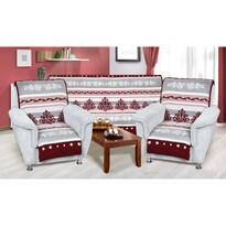 Cuverturi de canapea şi fotolii Karmela plus Ornament bordo-gri