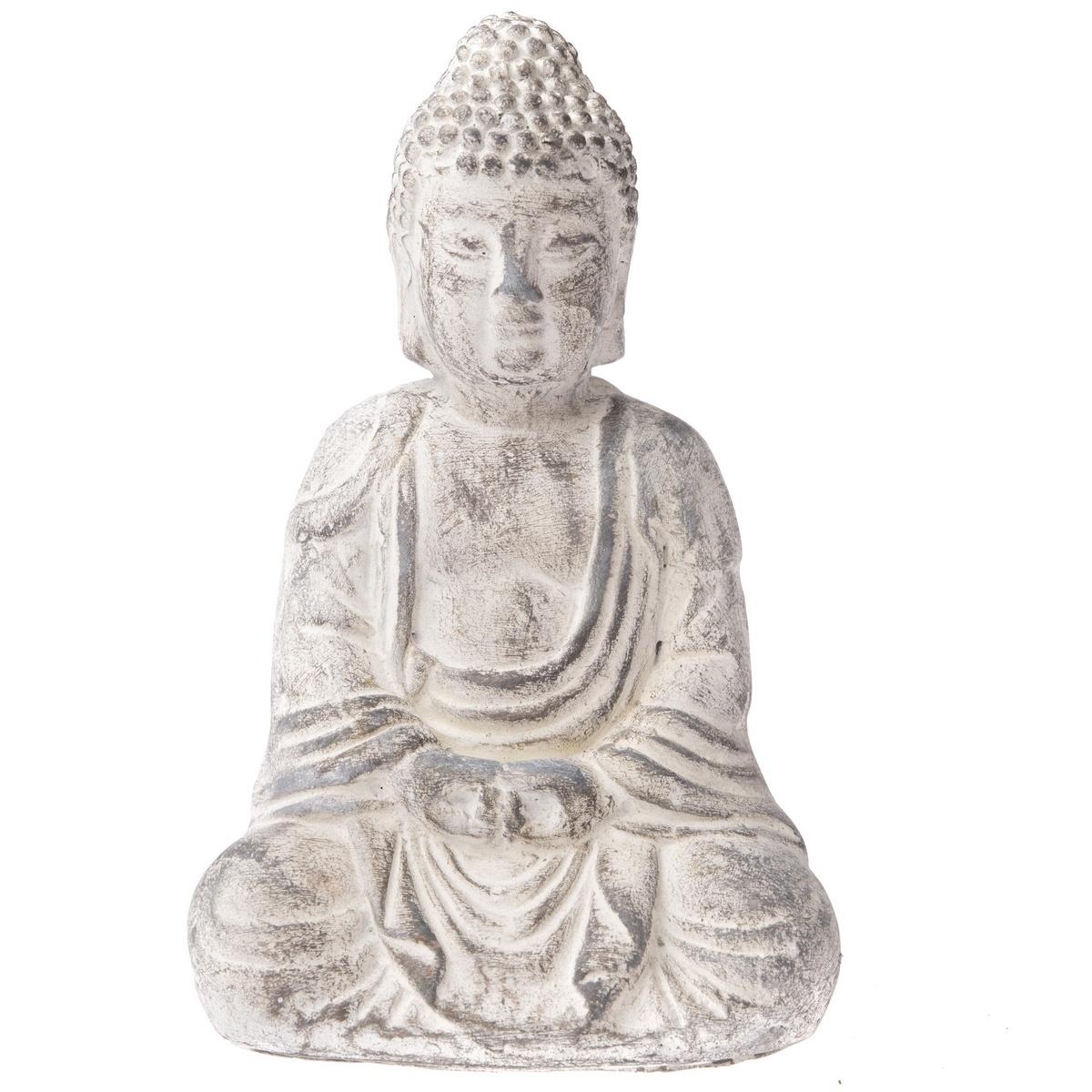 Statuetă din ciment Buddha, 13 x 20 cm, gri deschis imagine 2021 e4home.ro