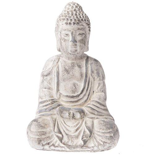 Betonová soška Buddhy, 13 x 20 cm, sv. šedá